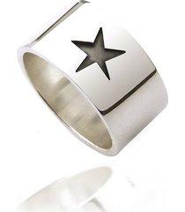 obrączka srebro 925, szeroka, masywna, gwiazda