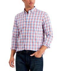 club room men's regular-fit stretch multi gingham poplin shirt, created for macy's