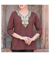 cotton tunic, 'chestnut opulence' (india)