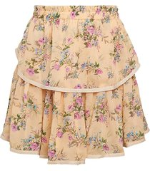allison new york women's floral tiered skirt - peach floral - size m