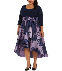 r & m richards plus size fit & flare gown