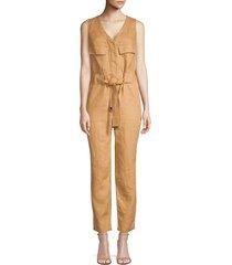 donna karan women's belted v-neck jumpsuit - desert - size s