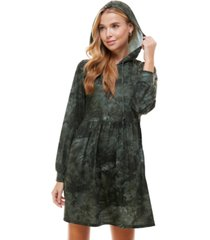 be bop juniors' tie-dyed hoodie fit & flare dress