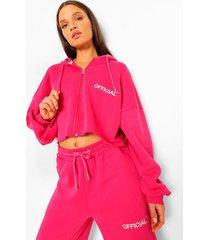 korte oversized hoodie met rits en tekst, hot pink