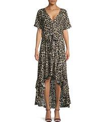 cheetah-print high-low dress