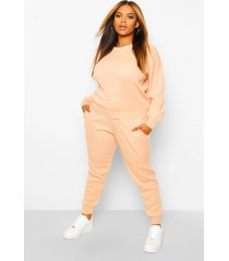 plus gebreide trui & joggingbroek set, blush