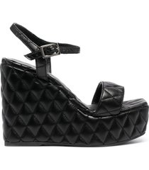 paul warmer diamond quilted wedge sandals - black