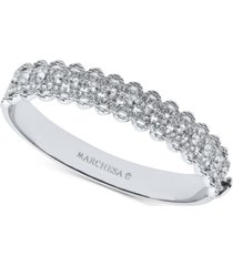 marchesa silver-tone crystal filigree bangle bracelet