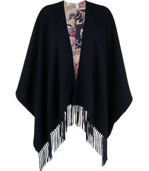 salvatore ferragamo reversible fringed shawl - blue