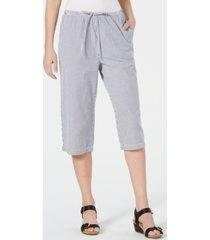 karen scott cotton seersucker capri pants, created for macy's