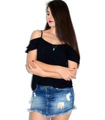 blusa up side wear com babado preta