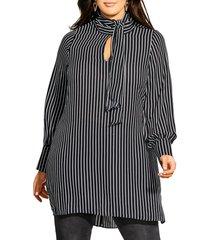 plus size women's city chic tie neck stripe tunic