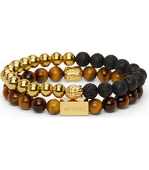 matt & nat protective buddha stainless steel gold bracelet, black