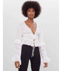 blouse met volant en strik