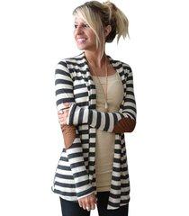 mujer invierno manga larga y patrón de banda casual dama algodón coat cardigan