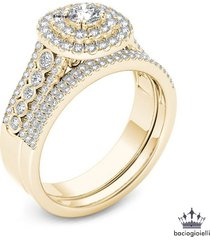 10k yellow gold plated 925 silver round cut white cz bridal engagement ring set