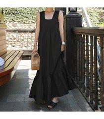 zanzea mujeres cuello cuadrado vestido del tanque de gran tamaño ocasional del verano maxi largo del vestido más el tamaño -negro