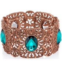 2028 burnished copper-tone blue zircon wide filigree stretch bracelet