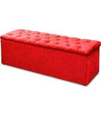 calçadeira recamier baú solteiro 90cm sofia suede vermelho - ds móveis