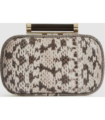reiss bellsize - leather snake pattern clutch in mono snake, womens