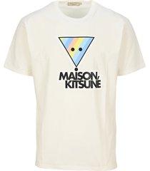 maison kitsune raimbow triangle logo print tee