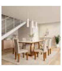 conjunto de mesa de jantar com vidro e 6 cadeiras eva i veludo imbuia e creme
