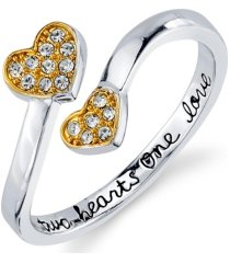 """unwritten silver plated cubic zirconia double heart """"two hearts one love"""" wrap around ring"""