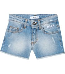 denim shorts with embroidered logo