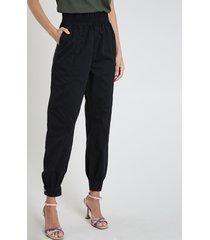 calça de sarja feminina jogger clochard cintura alta com bolsos preta
