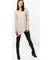 tall wide ribbed long sleeve top, khaki