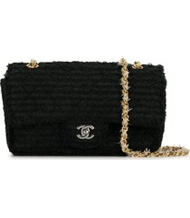 chanel pre-owned 2009-2010 diamond-quilted tweed shoulder bag - black