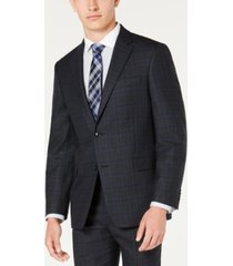 tommy hilfiger men's modern-fit thflex stretch blue/charcoal windowpane plaid suit jacket