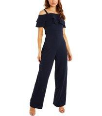 quiz bardot palazzo-leg jumpsuit
