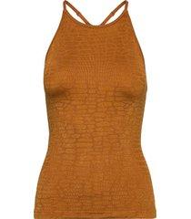 shiny alligator seamless strap tank t-shirts & tops sleeveless brun casall
