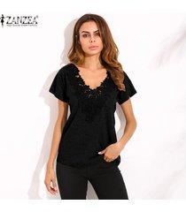 zanzea 2018 de primavera y verano de las mujeres flojas ocasionales de la manga corta con cuello en v de encaje de flores negro cuello de la camisa remata la blusa más el tamaño 5xl bluse negro -negro