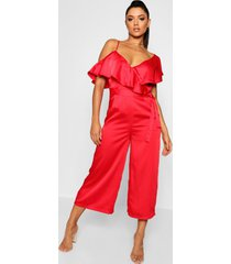 asymmetric neckline satin wrap culotte jumpsuit, red