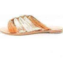 sandalia plana versilia en cuero miel y multicolor 002859