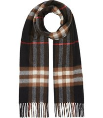 burberry classic check pattern scarf - blue