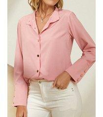 camicetta con bottoni a maniche lunghe con risvolto solido per le donne