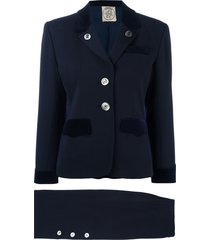 hermès pre-owned buttoned skirt suit - blue
