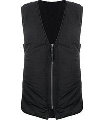 11 by boris bidjan saberi open side zipped gilet - black