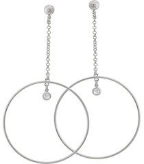 brinco dona diva semi joias maxi círculo ouro branco - kanui