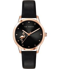 women's ted baker london fitzrovia flamingo leather strap watch, 34mm