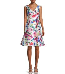 adrianna papell women's mikado floral pleated dress - white multicolor - size 8