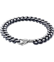 esquire men's jewelry heavy curb link bracelet in black acrylic & stainless steel, created for macy's