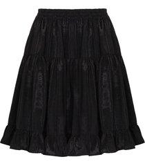 batsheva amy high waist tiered skirt - black