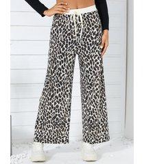 yoins leopardo con cordón en la cintura pantalones