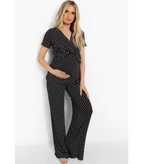 zwangerschap borstvoeding wikkel pyjama set met stippen, black
