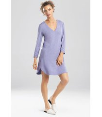 natori feathers essentials long sleeve sleepshirt pajamas, women's, grey, size m natori