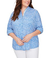 plus size women's foxcroft zoey coral reef button up shirt, size 24w - blue